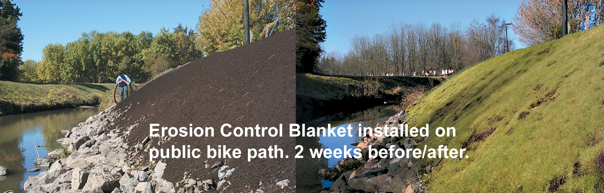 Before & After of Terraseeding by a Bike Path