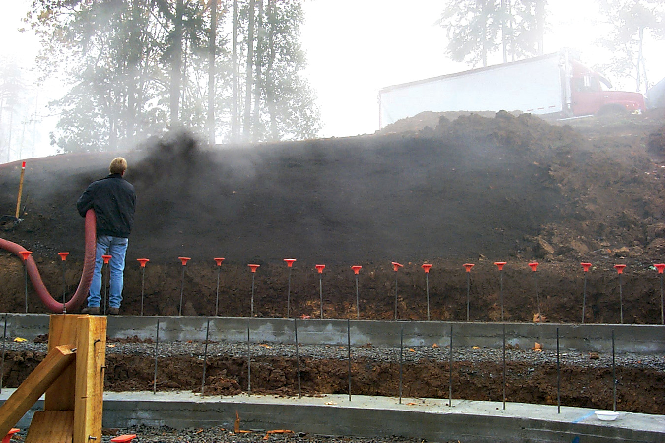 Erosion Control Blanket Installed at a Construction Site with an Express Blower EB-60 Blower Truck